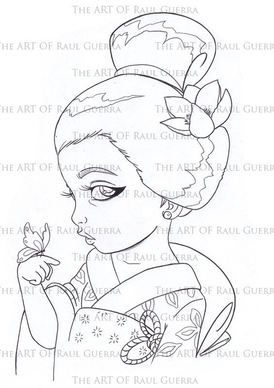 Little Geisha with butterfly. INSTANT DOWNLOAD Digital Digi Stamps ...