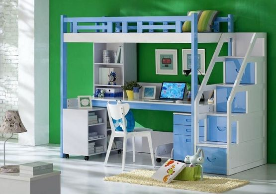 Blue White Kids Bunk Bed Sets With Desk And Stairs Home