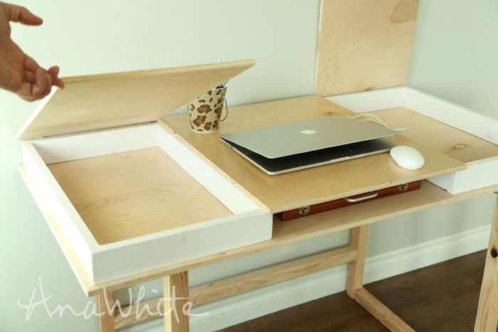 ana white build a desktop with storage compartments build your