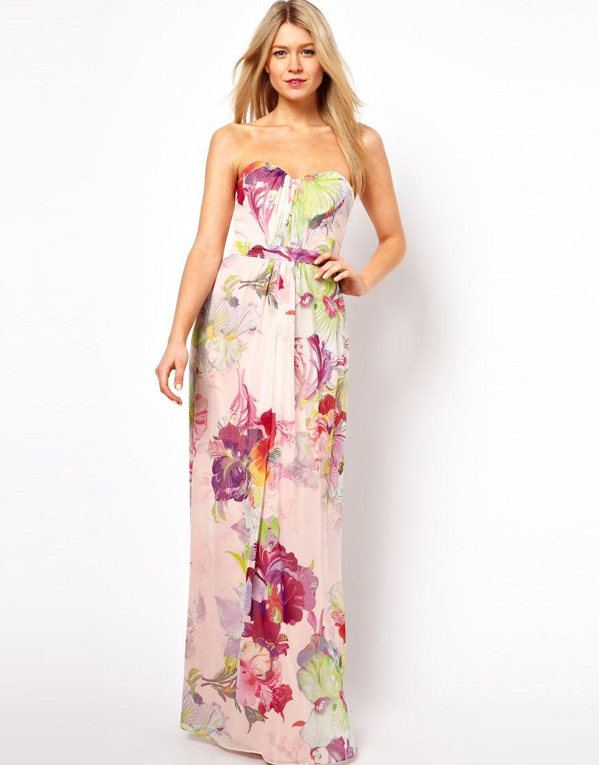 Ted Baker Bandeau Maxi Dress In Treasured Orchid Print Printed Bridesmaid Dresses Bandeau Maxi Dress Wedding Guest Dress [ 1110 x 870 Pixel ]