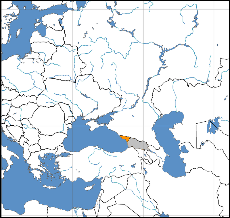 Map centered on the Caucasus indicating Abkhazia orangeand Georgia