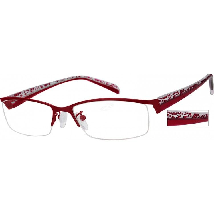 A medium wide size, stainless steel half-rim frame with comfortable acetate temples....Price - $27.95