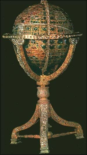 """Iranian Jewel-Studded Globe:  """"The most magnificent globe in existence, it...is covered with over 51 thousand gemstones... According to legend, Nasseridin Shah (1848-1896) ordered the construction of the globe to help keep track of the loose gemstones in the treasury."""""""