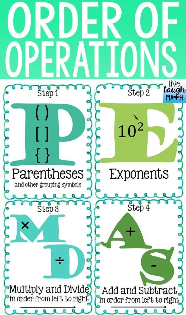 Free Order Of Operations Reference Sheet! | Math In The Classroom