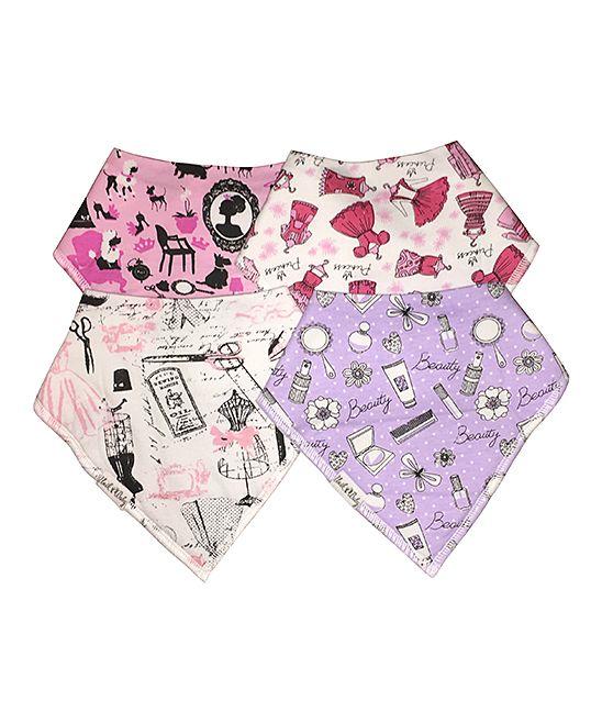 Pink & Purple Organic Cotton Bandanna Bib Set