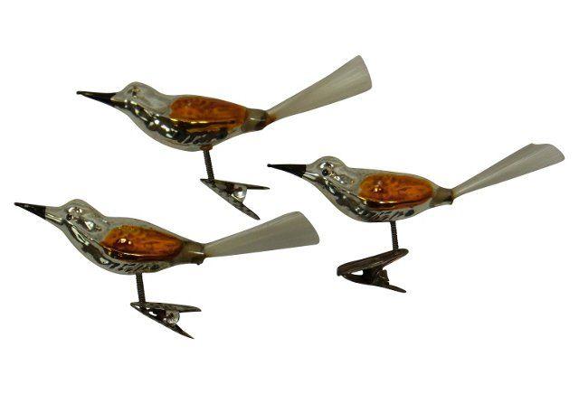 '50s  Christmas Bird Ornaments, S/3