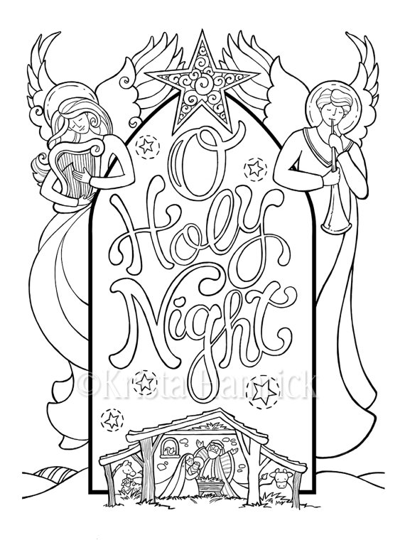 O Holy Night Nativity Scene Coloring Page In Two Sizes Etsy Nativity Coloring Pages Christmas Coloring Pages Coloring Pages