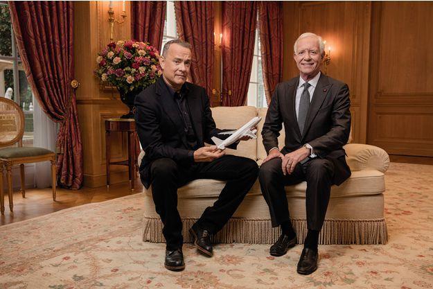 Tom Hanks et le pilote d'US Airways Chesley Sullenberger, dit Sully. Au Bristol, le 18 novembre, pour la sortie du nouveau film de Clint Eastwood.