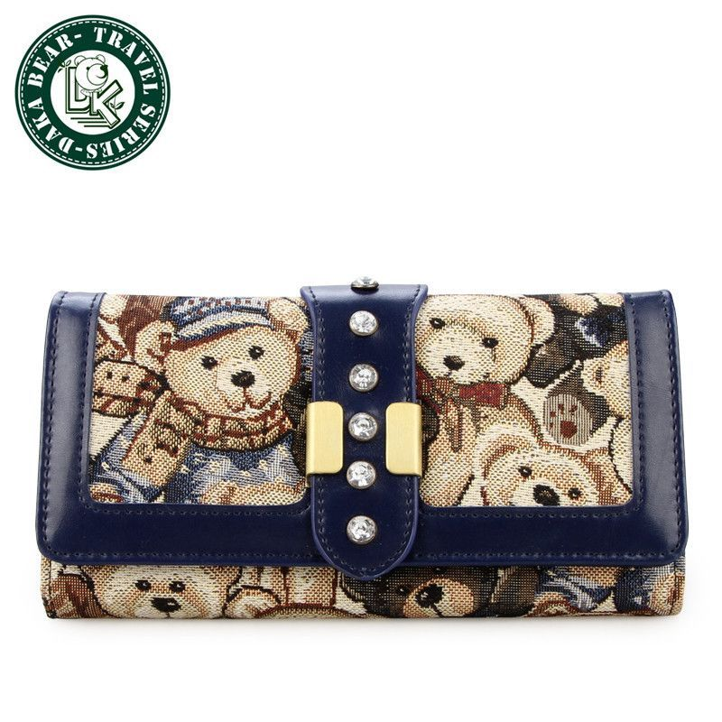 DAKA BEAR Fashion Wallet Womens Wallet Genuine Long Design Fashion Pures Gift For Women