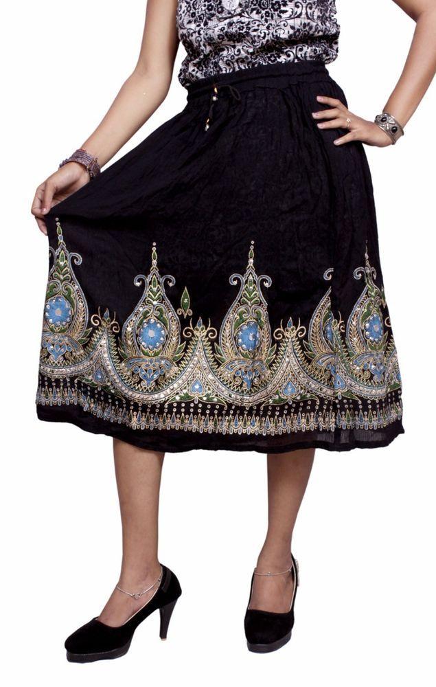 61c7d81cbbd Rayon Embroidered Boho Hippie Beautiful HandWork Gypsy Elastic Waist Short  Skirt  Handmade  MEDIUM   Embroidered   Boho Skirt   Hippie Skirt From India