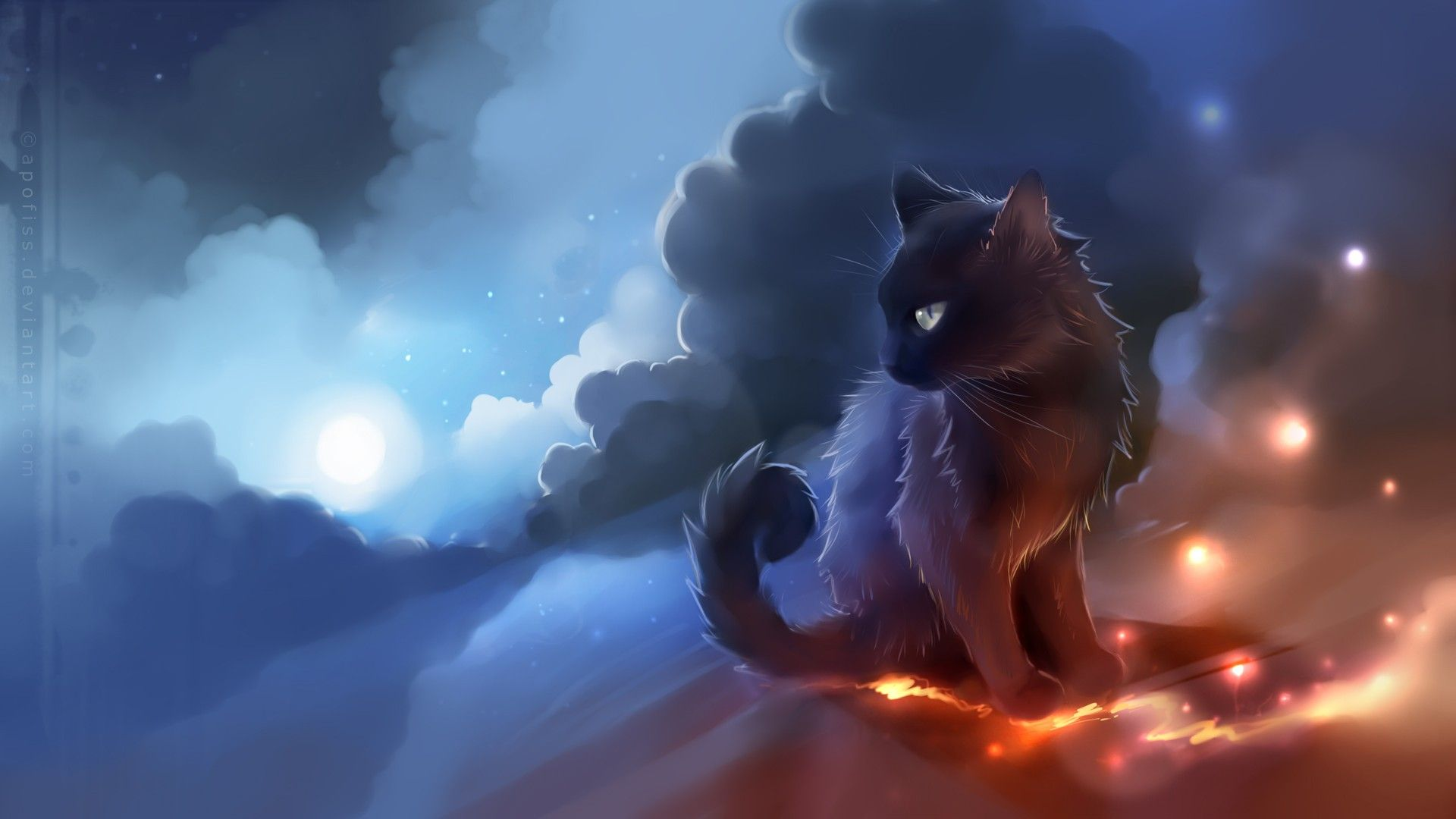 Apofiss Cat On Clouds Hd Wallpaper Cats Illustration Cute Cat