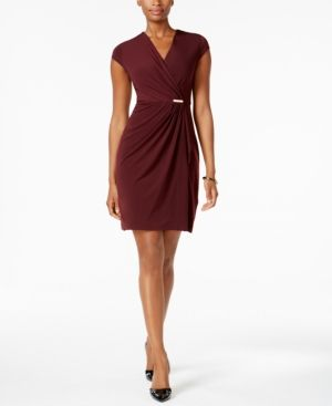 Charter Club Petite Faux-Wrap Dress, Created for Macy's -