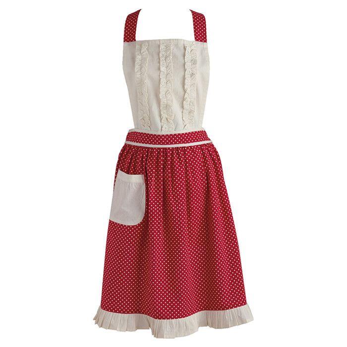Pretty Red & White Ruffled Apron. | Dishcloths, potholders, tea ...