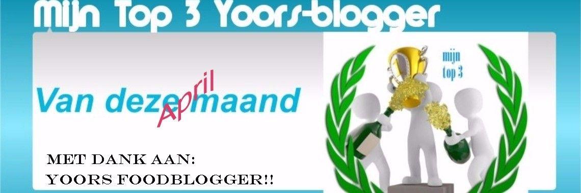 Omdat ik het zo'n leuk initiatief vind van Yoors Foodblogger, deze maand opnieuw een top 3. Overigens heeft de top 3 van de maand Maart nogal wat indruk op me gemaakt. Dana schreef een bl