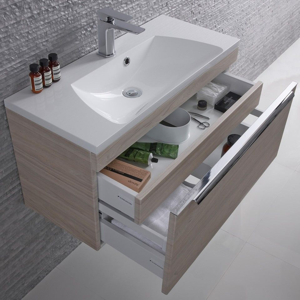 Designer Bathroom Sinks Basins Roper Rhodes Cypher White Gloss Wall Hung Vanity Unit  800Mm