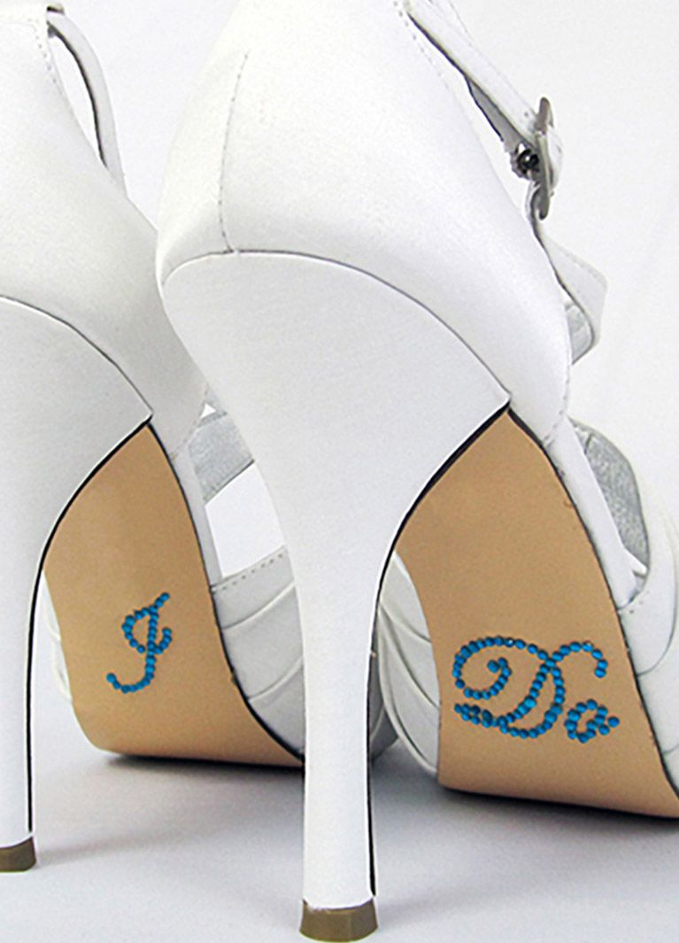White high heels with blue i do stickers underneath wedding ideas