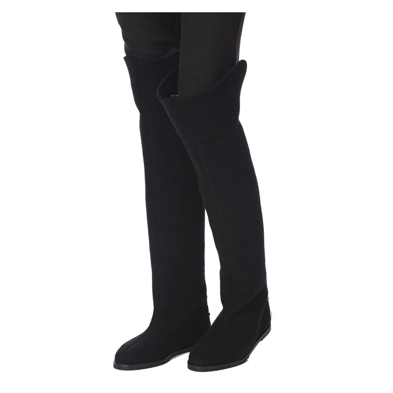 Gala Felt Long Black boots Judari Felt black, flat boots. Can be ...