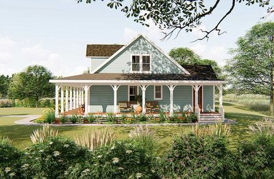3-Bed Country Home Plan with 3-Sided Wraparound Porch - 500051VV thumb - 05