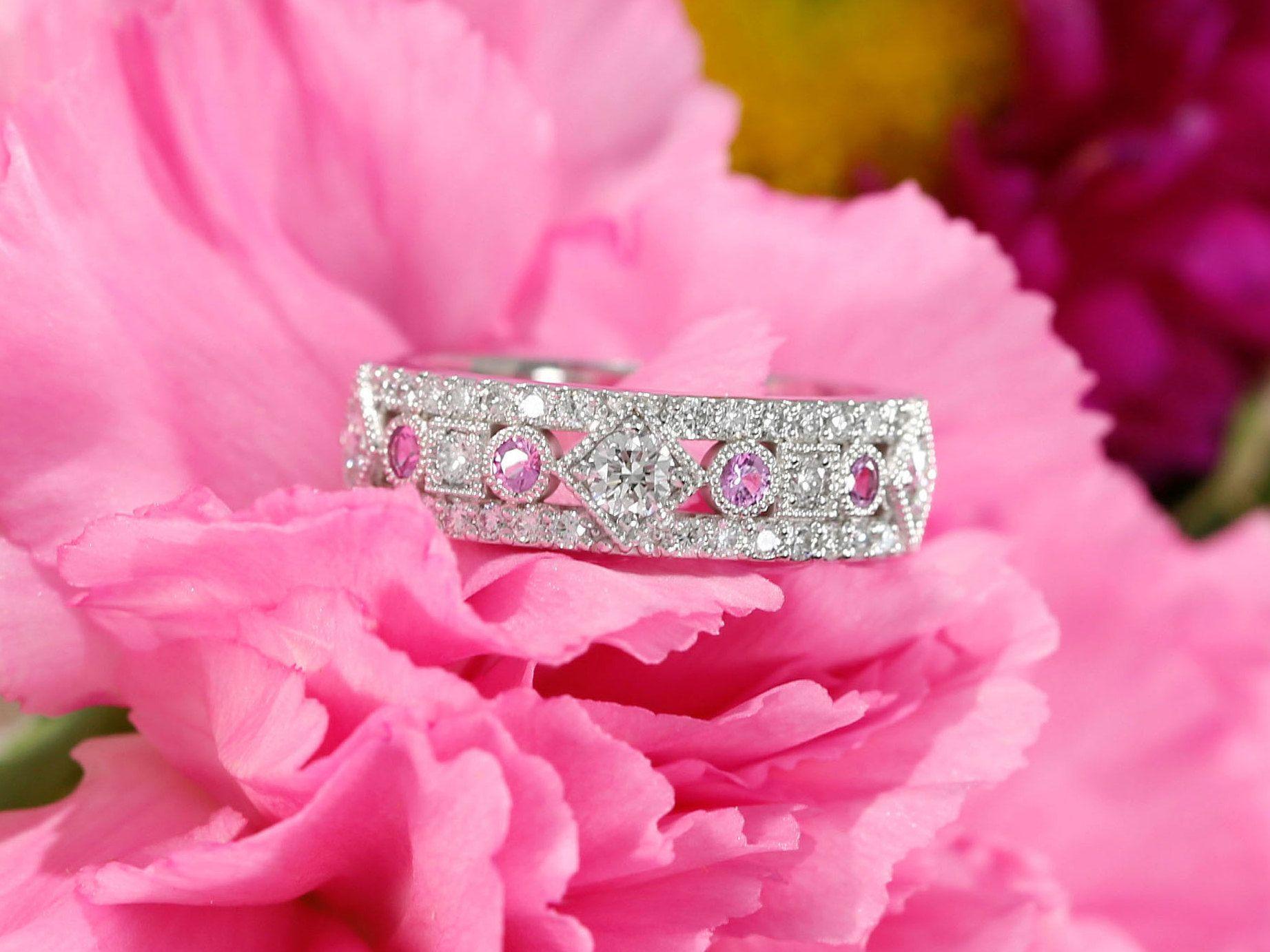 14k White Gold Diamond and Pink Sapphire Wedding Band, Three quarter ...