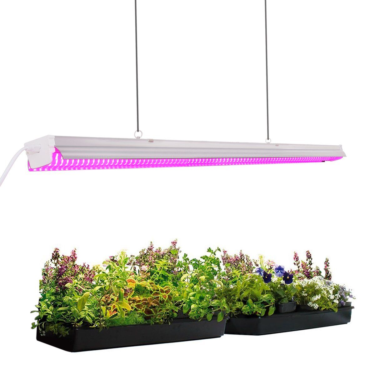 Byingo 4ft 64w Plant Growth Light Led Integrated Lamp Fixture Plug And Play Full Spectrum For Indoor Grow Lights For Plants Led Grow Lights Planting Flowers