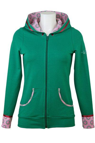Sweatjacken fashion4EVA Kapuzensweatjacke grünrosa ein