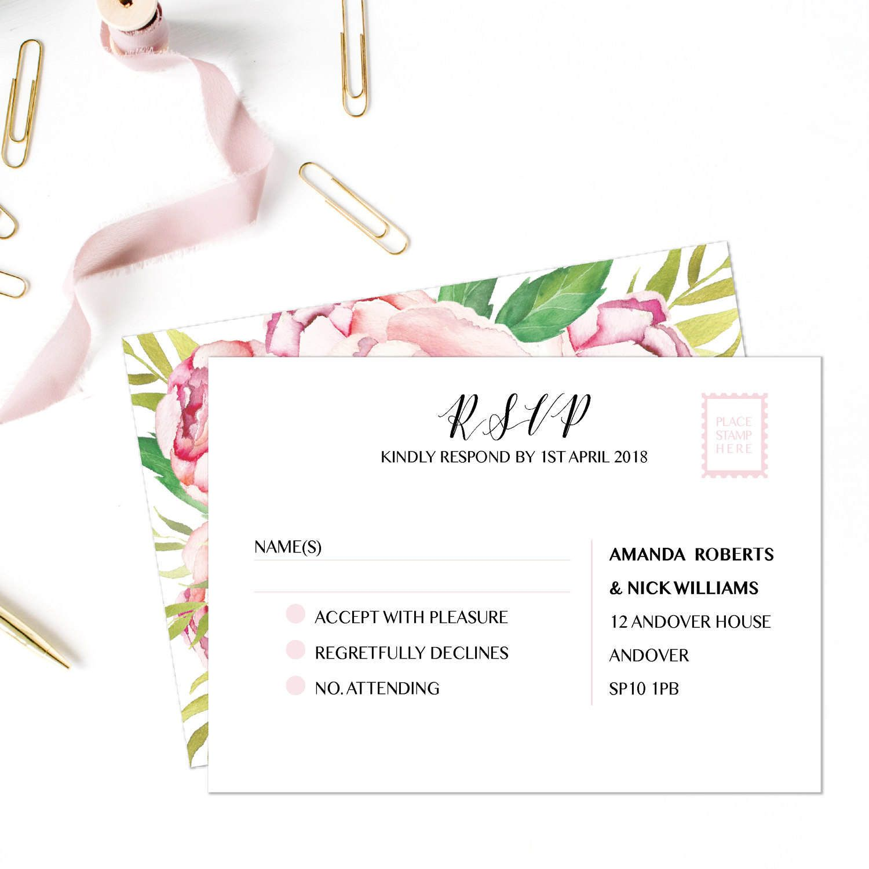 wedding response card examples