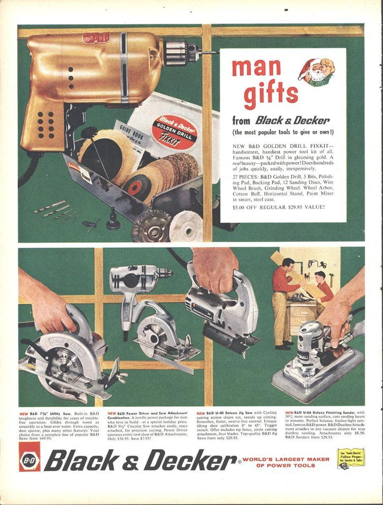 Black Decker Power Tools Christmas Page Life December 5 1960 Black Decker Christmas Ad Old Christmas