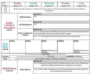Fourth Grade Common Core Lesson Plan Template With Drop Down Menus
