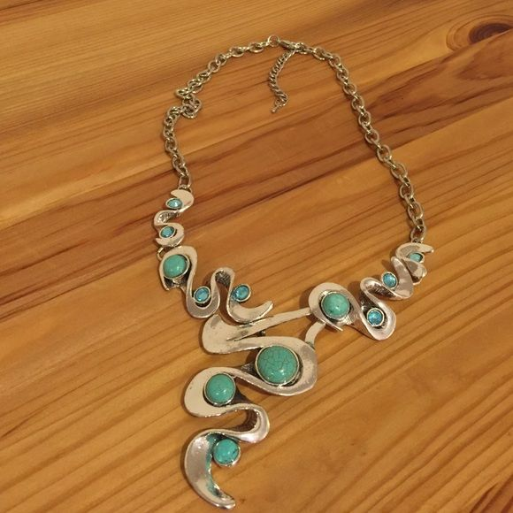 "Necklace Silver tone with turquoise color beads. 12"" long w/ a 3"" extender Jewelry Necklaces"