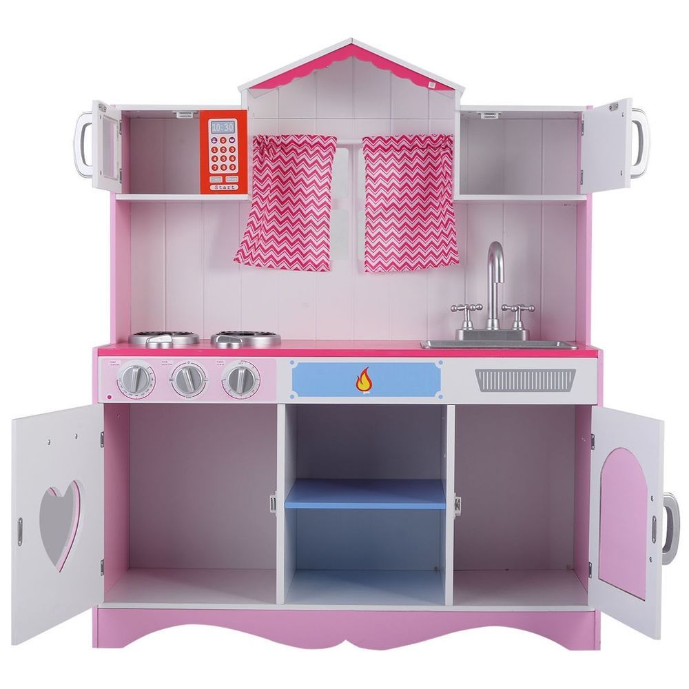 Kitchen pretend wooden wood white pink kids toddlers girls food play