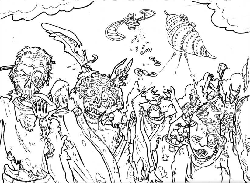 HALLOWEEN COLORINGS ZOMBIE COLORING PAGES FOR ADULTS AND TEENS