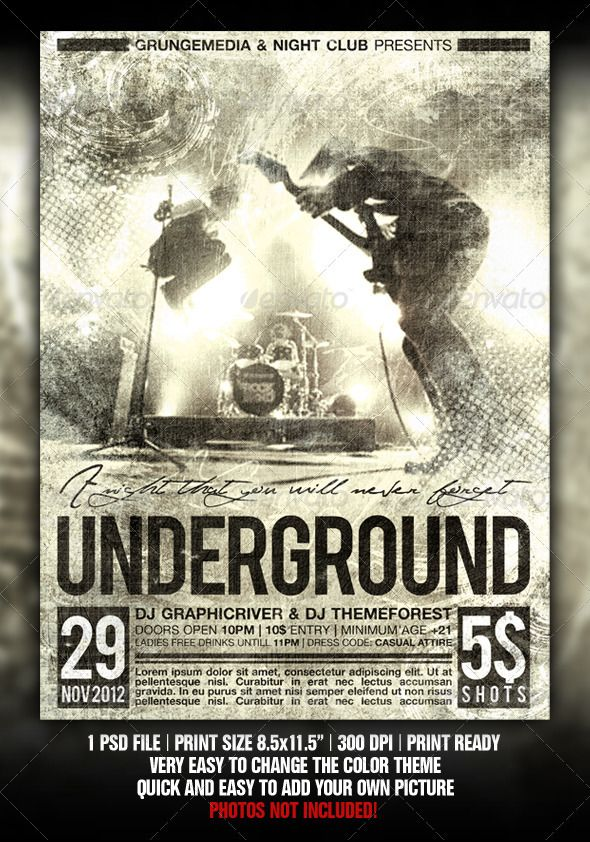 Grunge Party / Concert Poster | Grunge party, Concert posters and ...