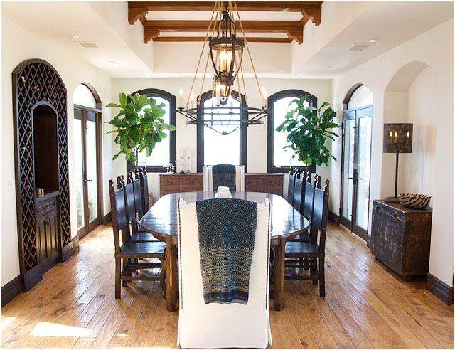 Beautiful Dining Room, Fiddle-Leaf Fig Plant, Vintage Wood Trunk, Rope Chandelier, Wine Storage, Built-ins,