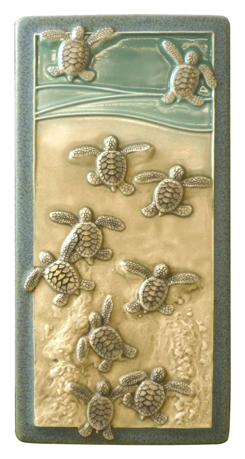Art tile, Ceramic wall art, Leaving the Nest, 4x 8 inches Baby Green ...