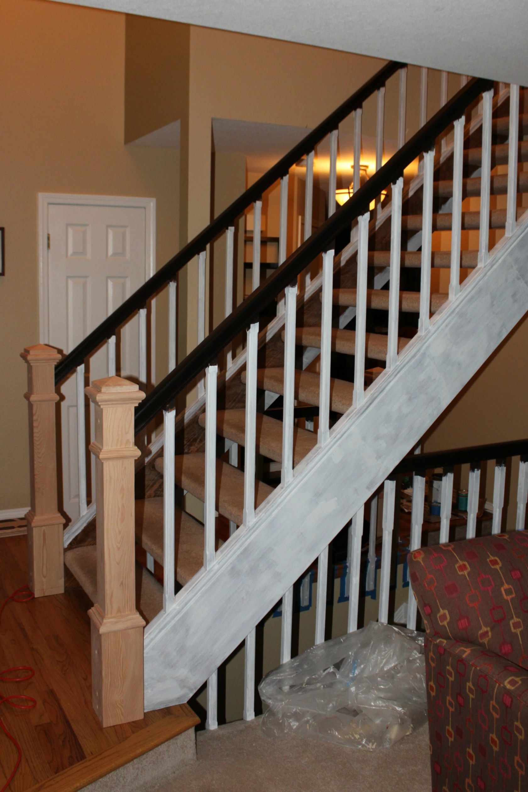 Open Tread Stairway Remodel Before And After I Closed In The Stairs With Dark Oak Treads White Risers