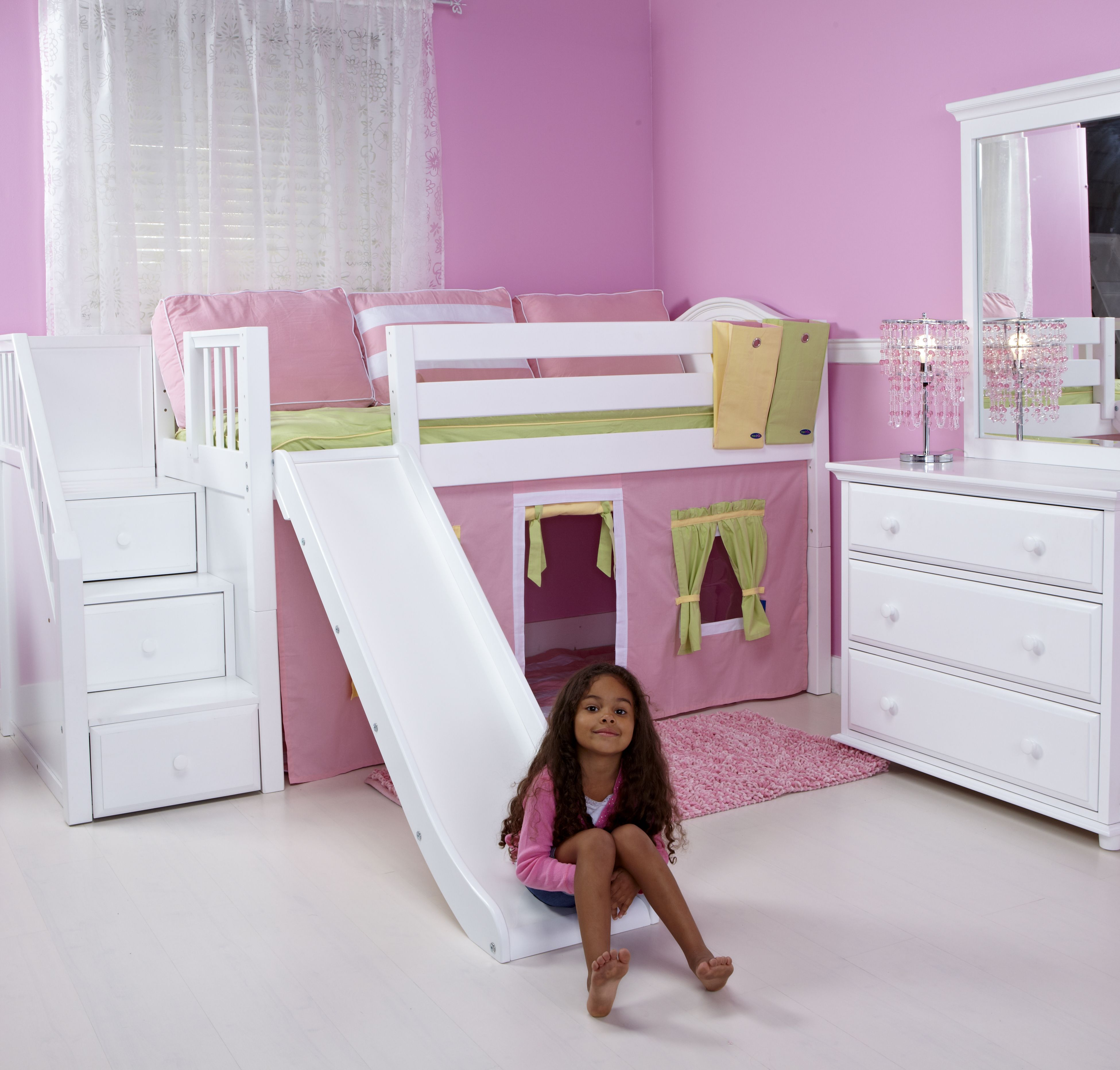 Maxtrix Loft Bed with Staircase choose wood color & fabrics See