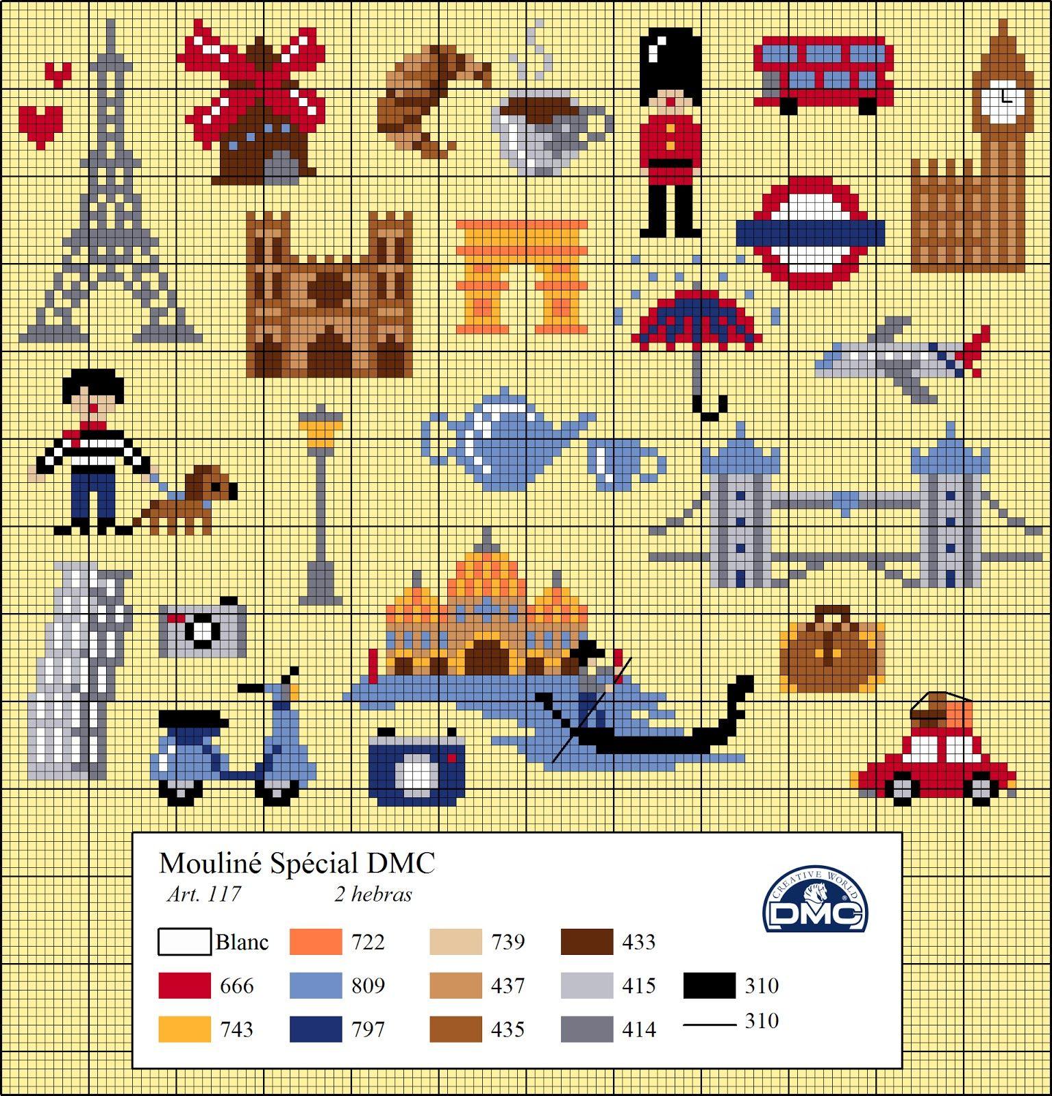 El blog de Dmc: Diagramas de punto de cruz de viajes | Cross stitch ...