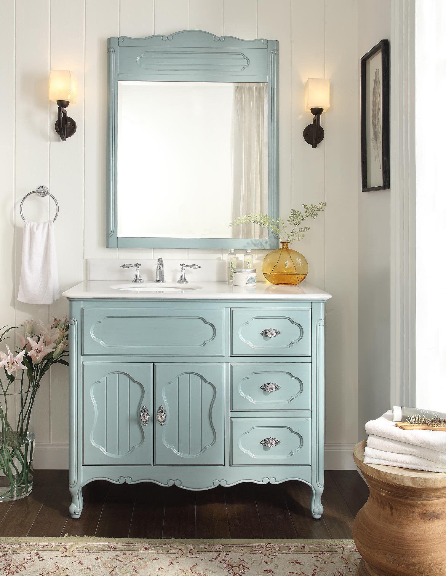42 Benton Collection Victorian Cottage Style Knoxville Bathroom Vanity With Mirror Gd 1509bu Mir French Cottage Bathroom Cottage Bathroom Inspiration Shabby Chic Bathroom