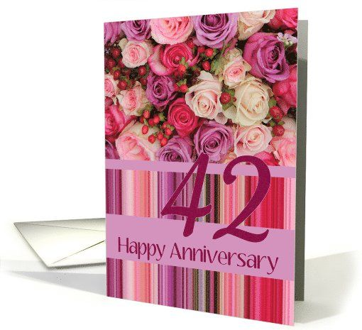 42nd Wedding Anniversary Card Pastel Roses And Stripes Card Wedding Anniversary Cards 41st Wedding Anniversary 30th Wedding Anniversary Card