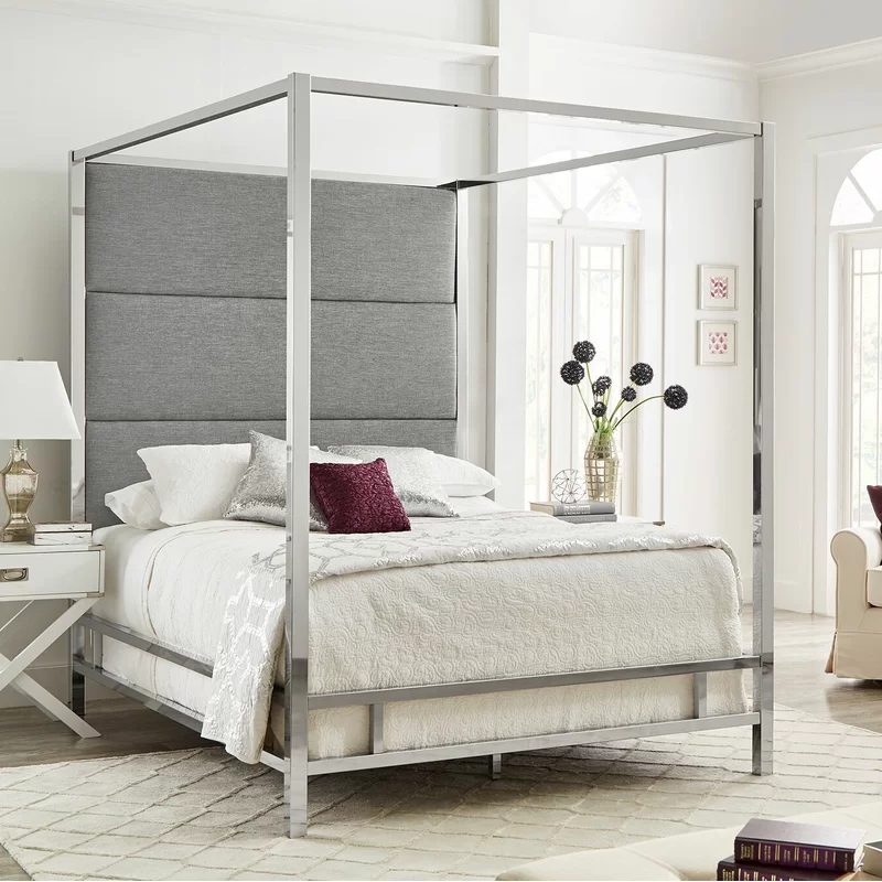 Everson Upholstered Canopy Bed Queen canopy bed