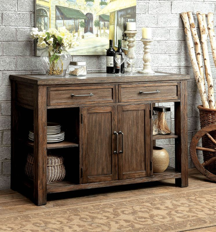 Cm3562 Sv Colette Rustic Oak Finish Wood Rustic Style Sideboard