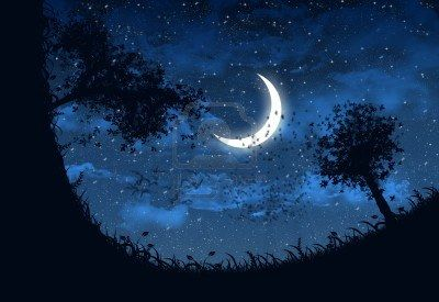Illustration of sky at night with stars and crescent moon