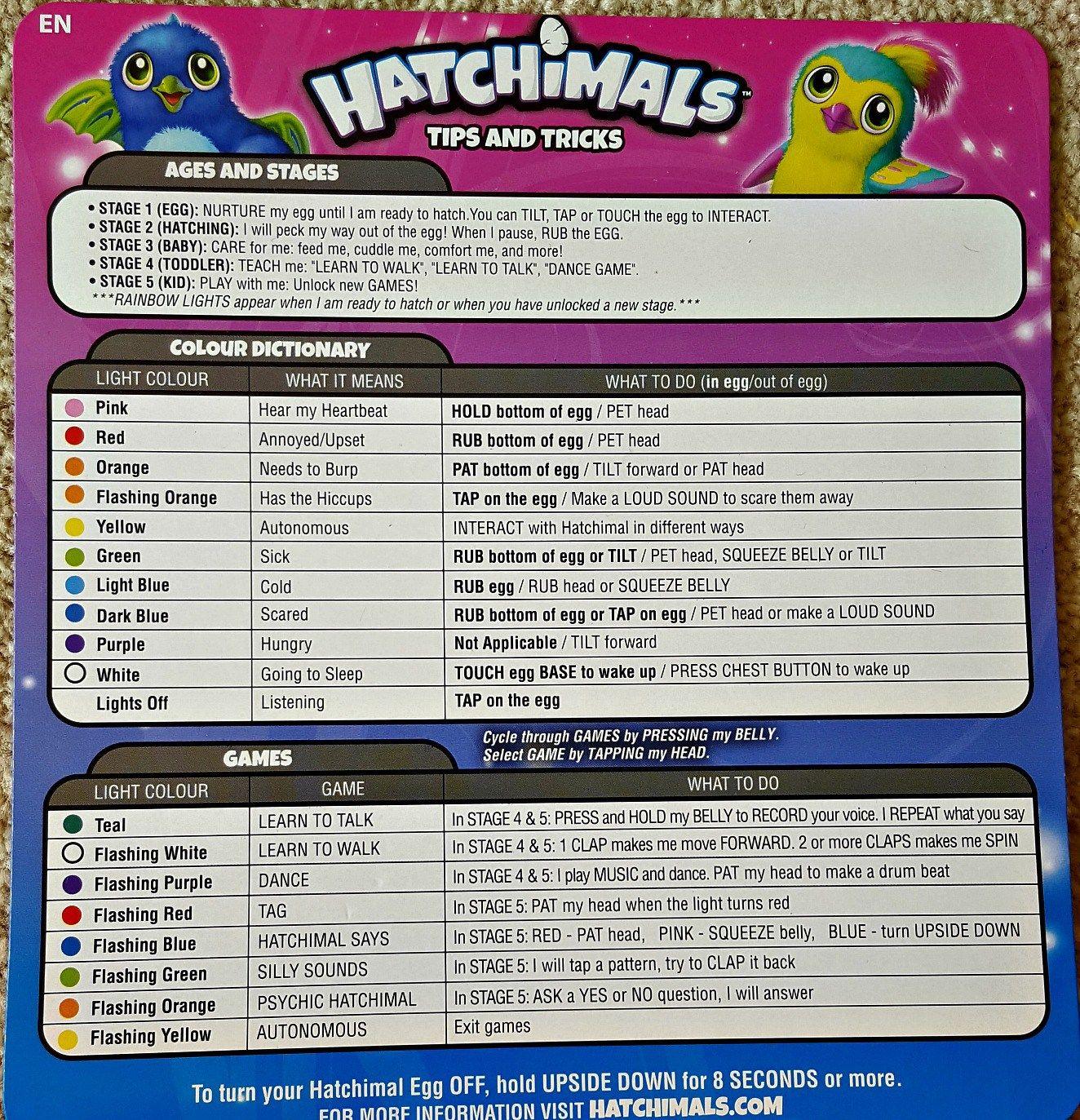 Instrucciones de los Hatchimals y que siginifica cada color  012c4336d2a0