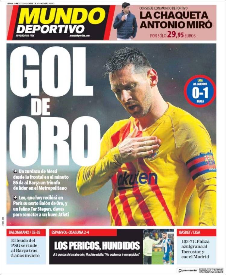 20191202 Portada de El Mundo Deportivo (España) Mundo