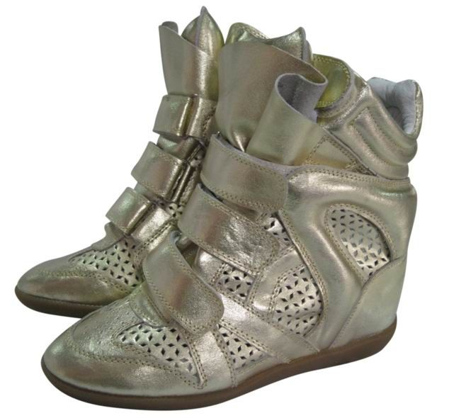 Isabel Marant Wedge Sneakers High Top Leather Punching Golden  $172.00