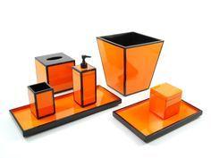 Orange And Black Lacquer Bathroom Accessories Set