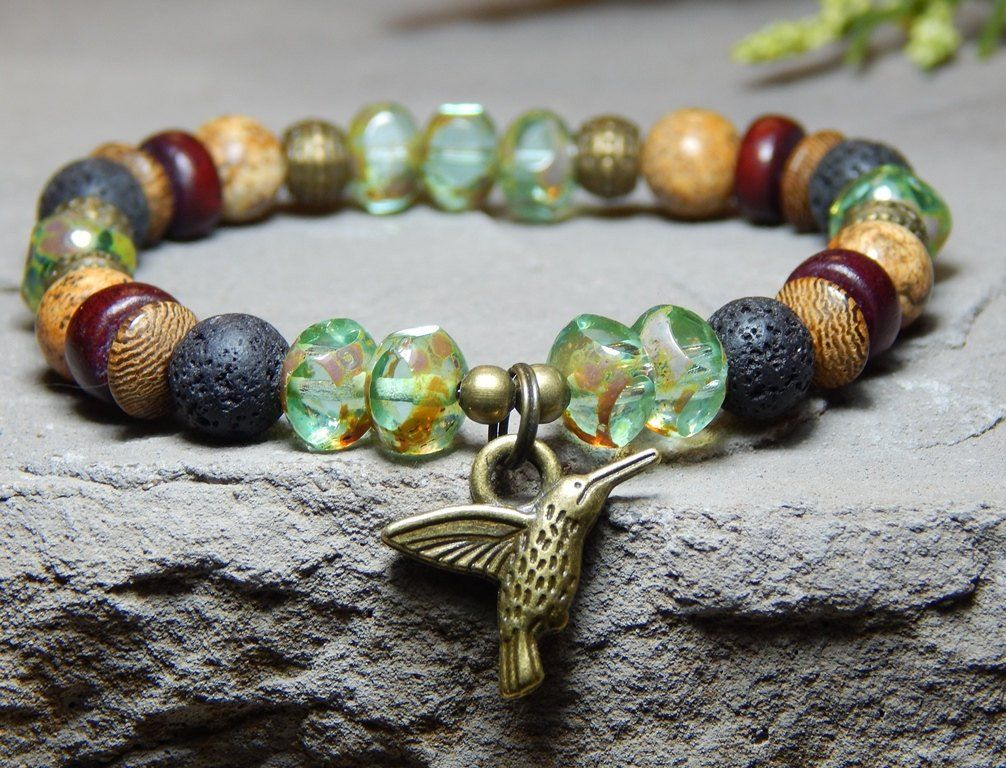 About The Bracelet A Unique Beautiful Hummingbird Charm This Earthy Has Wood Lava And Jasper With High Quality Green Czech Beads To Make