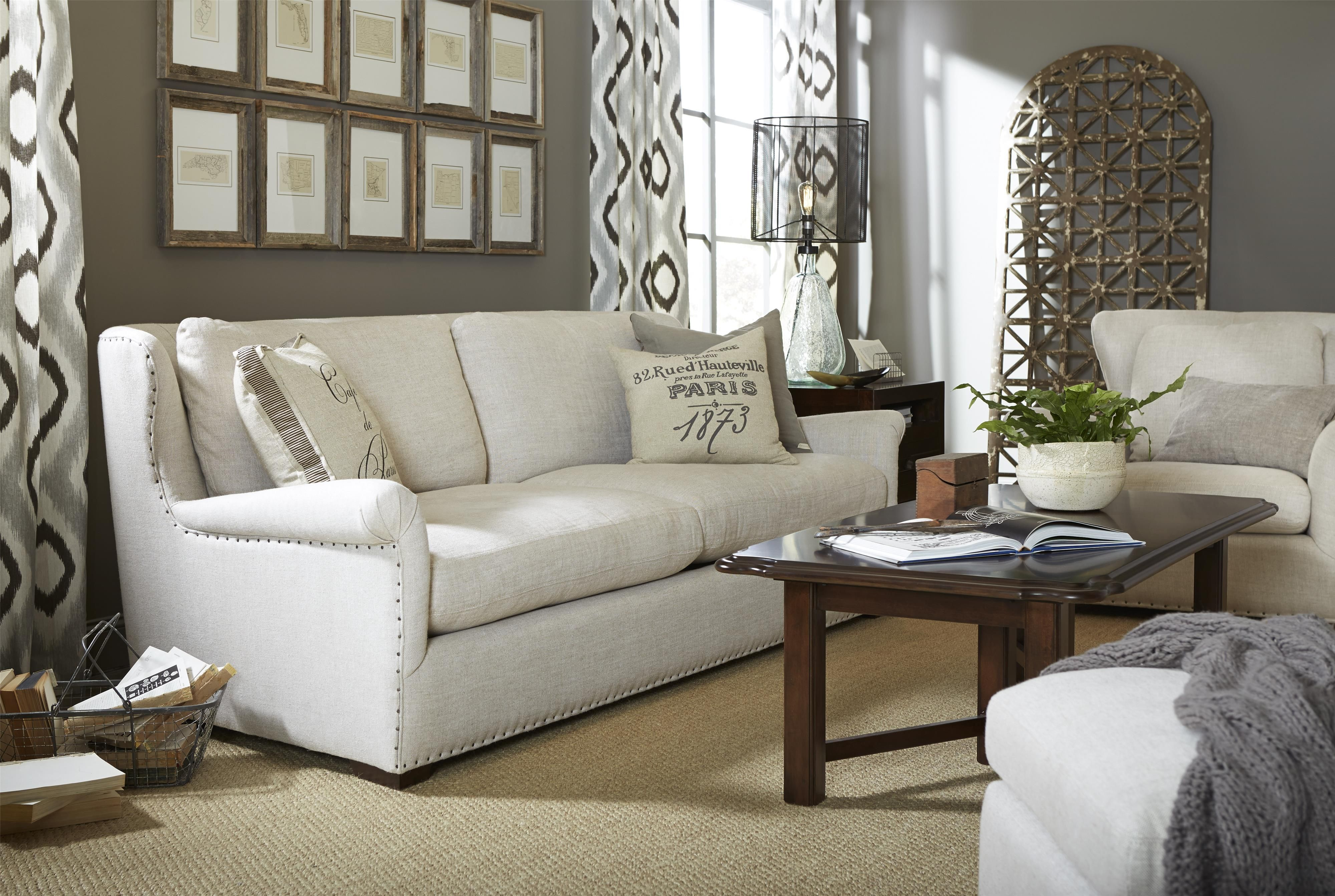 ... Furniture Barn Manor House. Haven Transitional Sofa With Rolled Arms  And Ed Nailhead