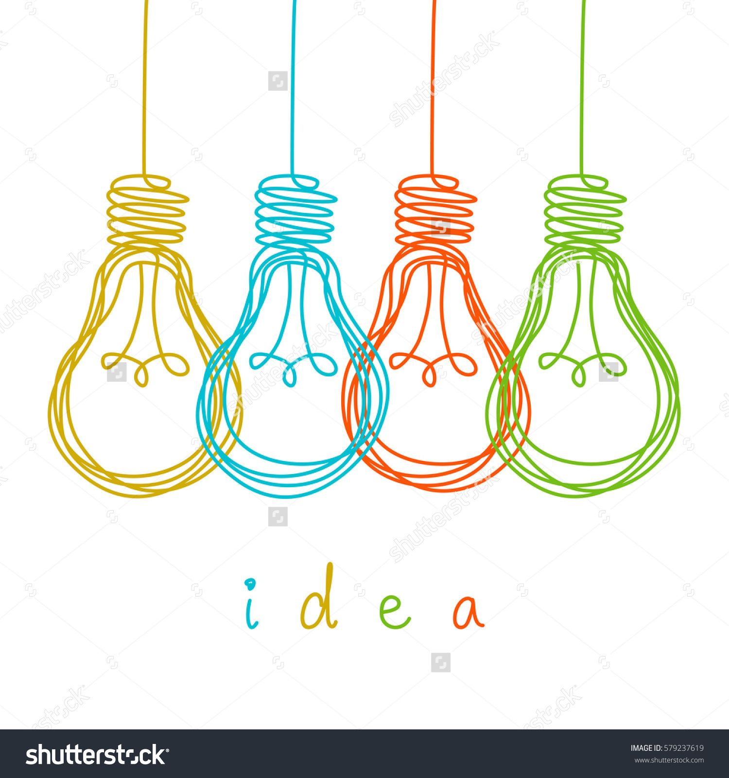 Vector light bulb icons with concept of idea. Color