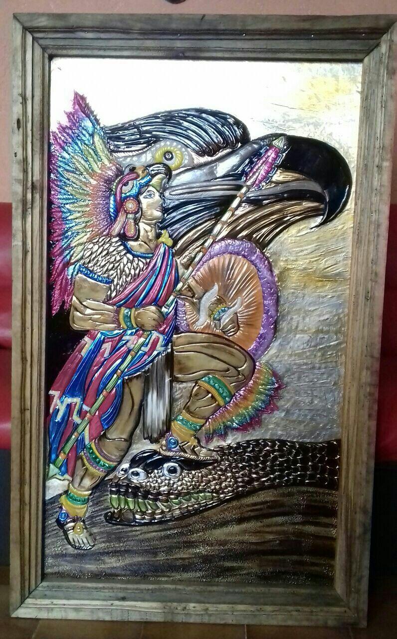 Cuadro de guerrero azteca hecho a mano en cobre, aluminio y latón ...